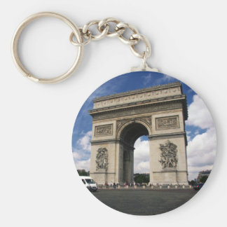 paris basic round button keychain