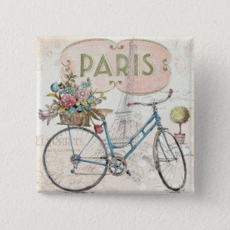 Paris Bike With Flowers 2 Inch Square Button