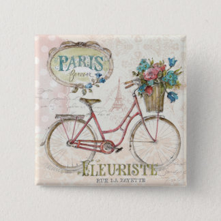 Paris Bike With Flowers In Front 2 Inch Square Button