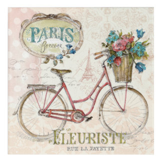 Paris Bike With Flowers In Front Acrylic Wall Art