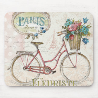 Paris Bike With Flowers In Front Mouse Pad