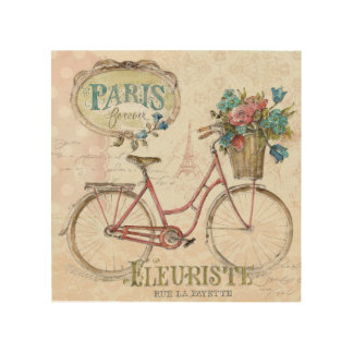 Paris Bike With Flowers In Front Wood Wall Decor