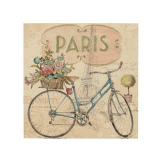 Paris Bike With Flowers Wood Wall Art