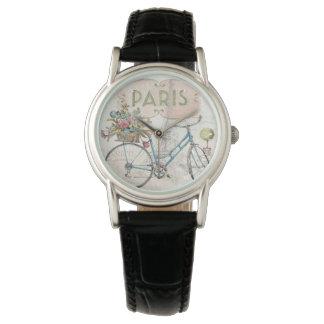 Paris Bike With Flowers Wristwatch