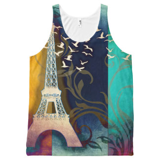 Paris bird swirl art print all over shirt