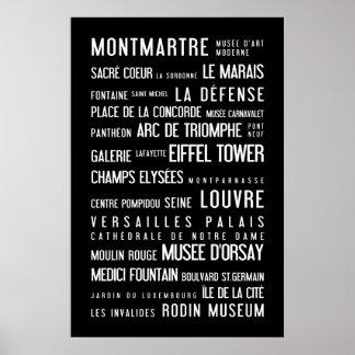 Paris black and white elegant poster