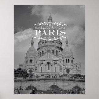 Paris Black and White Travel Poster: Sacre Coeur Poster