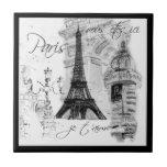 Paris Black & White Eiffel Tower Street Scene