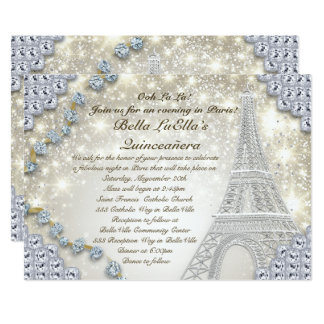 Paris Bling Birthday Party Invitation