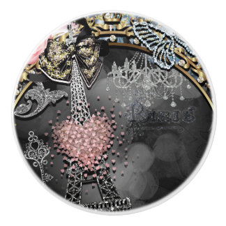 Paris Bling Glamour Sparkle France Girly Trendy Ceramic Knob
