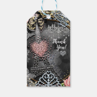 Paris Bling Glamour Sparkle France Sweet 16 Party Gift Tags