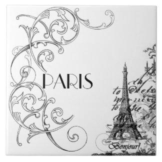 Paris Bonjour Collage Tile Trivet