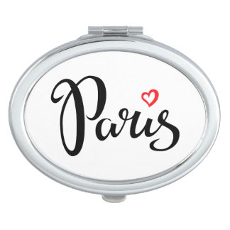 Paris Brush Lettering With Heart Compact Mirror