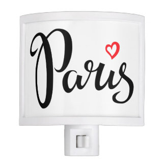 Paris Brush Lettering With Heart Nite Lite