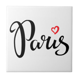 Paris Brush Lettering With Heart Tile