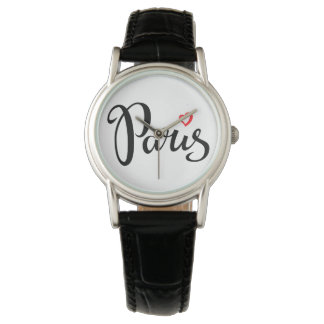Paris Brush Lettering With Heart Wrist Watches