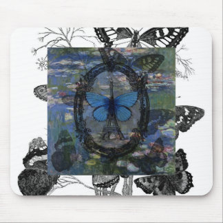 Paris Butterflies Art Collage Mouse Pad