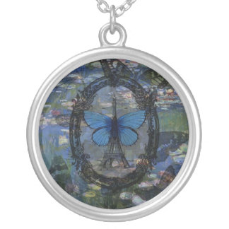 Paris Butterflies Art Collage Necklace
