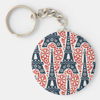 Paris Button Keychain