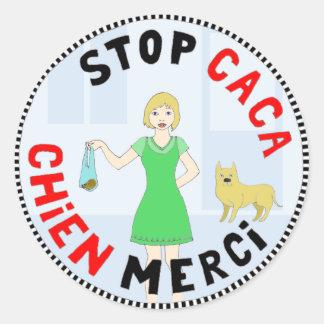 Paris, capitale de la crotte classic round sticker