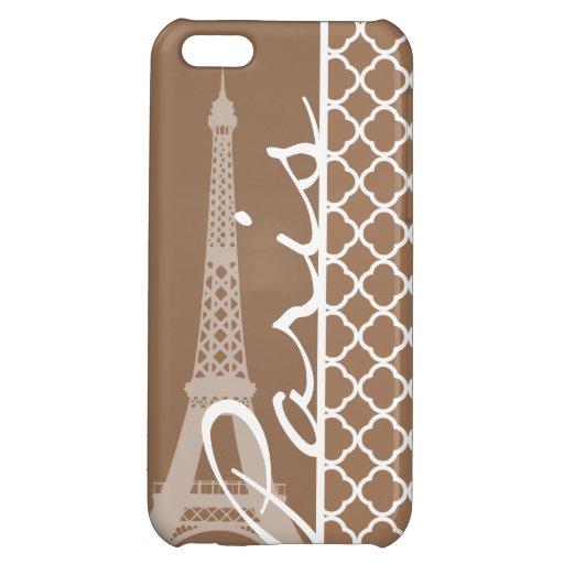 Paris; Chamoisee Quatrefoil Cover For iPhone 5C