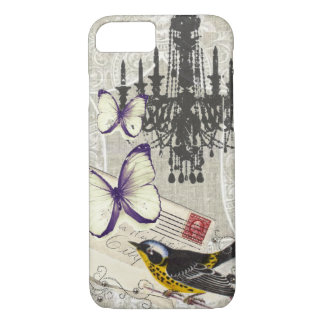 Paris chandelier butterfly bird modern vintage iPhone 8/7 case