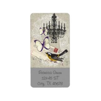 Paris chandelier butterfly bird modern vintage label