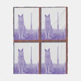 Paris Chartreux Cat Fleece Blanket