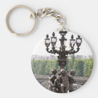 Paris Cherubs Basic Round Button Keychain