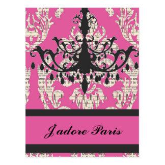 Paris chic hot pink damask vintage chandelier postcard