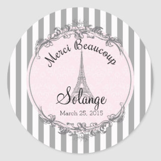 Paris Chic round personalized thank you circle Classic Round Sticker