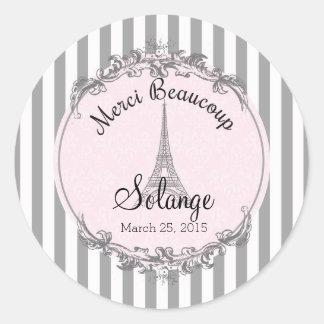 Paris Chic round personalized thank you circle Round Sticker