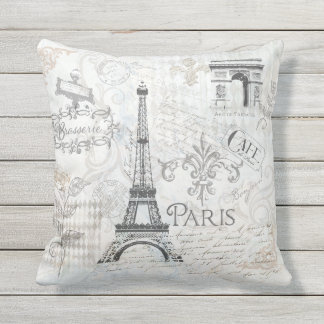 Paris city collage design Pillow