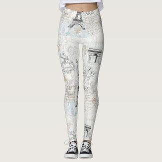 Paris city collage print leggings