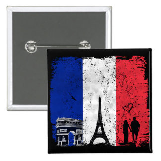 Paris city of love 2 inch square button