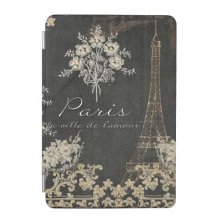 Paris City of Love Eiffel Tower Chalkboard Floral iPad Mini Cover