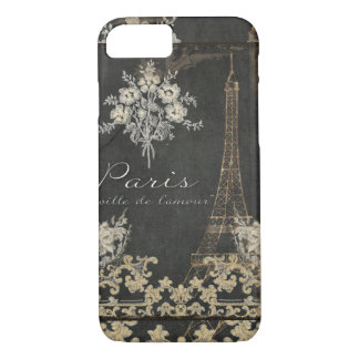 Paris City of Love Eiffel Tower Chalkboard Floral iPhone 7 Case