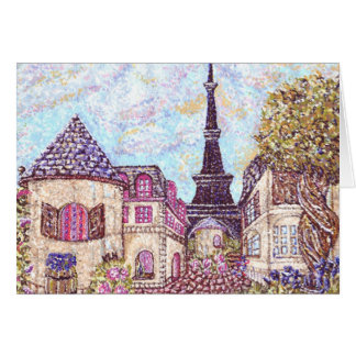 Paris Cityscape Pointillism With Eiffel Tower Gree Card