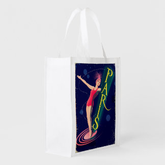Paris Club vintage travel poster Reusable Grocery Bag
