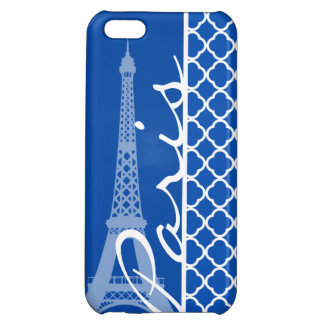 Paris; Cobalt Blue Quatrefoil Cover For iPhone 5C