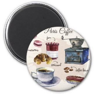 Paris coffee 2 inch round magnet