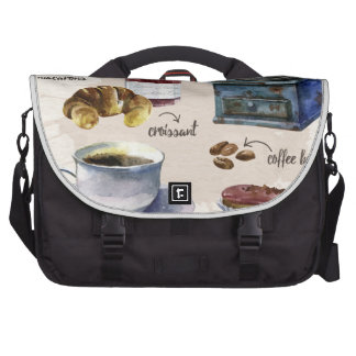 Paris coffee and pastry treats illustration laptop bag