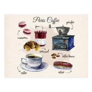 Paris coffee and pastry treats illustration postcard