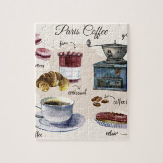 Paris coffee pastry illustrations puzzle