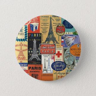 Paris collage 2 inch round button