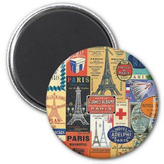 Paris collage 2 inch round magnet