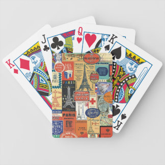 Paris collage bicycle playing cards