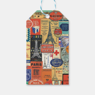 Paris collage gift tags