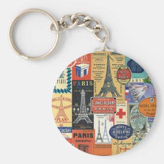Paris collage keychain