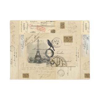 Paris Crow Globe French Postcard Doormat